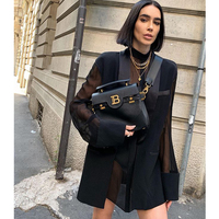 AEL Fake Two Pieces Women Black Top Thin Blazer Long Sleeve Shawl Collar Casual Pocket Blouse Perspective Shirt Summer 2020