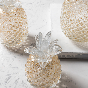 Creative Golden crystal glass pineapple figurines plant fruit arts and crafts office desk home decoration wedding gifts