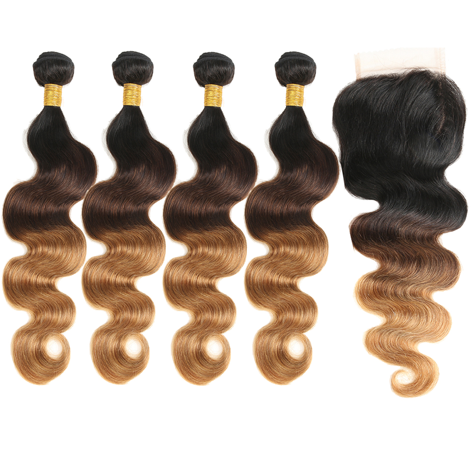 Brazilian Hair Bundles With Closure Platinum Blonde Weave Hair Extension Body Wave Hair Ombre Non Remy Silky Natural Hair