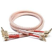 XSSH audio Hi end DIY HIFI Chapado en plata forma de Y pala a banana plugs 12TC 24 cable de altavoz central Cord Wire