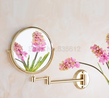 Gold Brass Double Sided Bathroom Folding Brass Shave Makeup Mirror Wall Magnifying Mirror Makeup Wba632