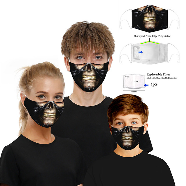 Washable Skull Smiley Printing Mouth Mask with Filter for Halloween Party Half Face Mask Dust proof bacteria proof Flu Mask 1