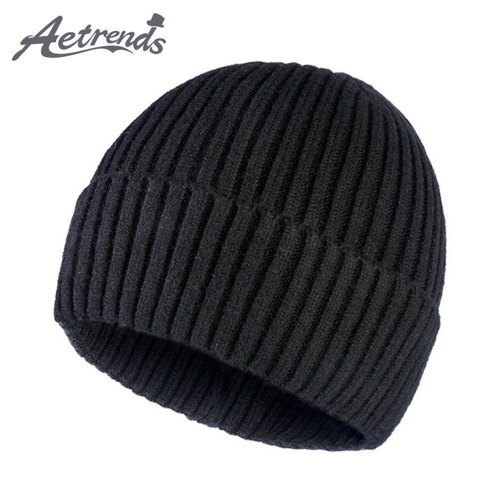 [AETRENDS] Soft Knit Plain Cuff Beanie Hat Warm And Durable Winter Hats For Men Women Outdoor Warm Skull Caps Z-9961