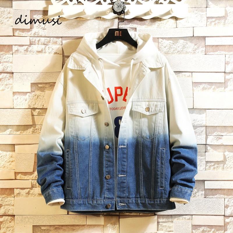 DIMUSI Mens Denim Jackets Trendy Fashion Gradient Color Bomber Denim Jacket Man Outwear Windbreaker Cowboy Jeans Jacket Clothing