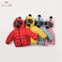 DB11787 dave bella winter baby unisex down coat solid zipper hooded outerwear children 90% white duck down padded kids jacket