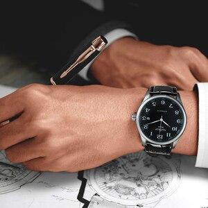 Image 4 - ساعة يد آلية للأعمال الموضة للرجال بحزام جلدي ساعات يد ميكانيكية للرجال ساعة بتقويم وتاريخ من montre homme WINNER