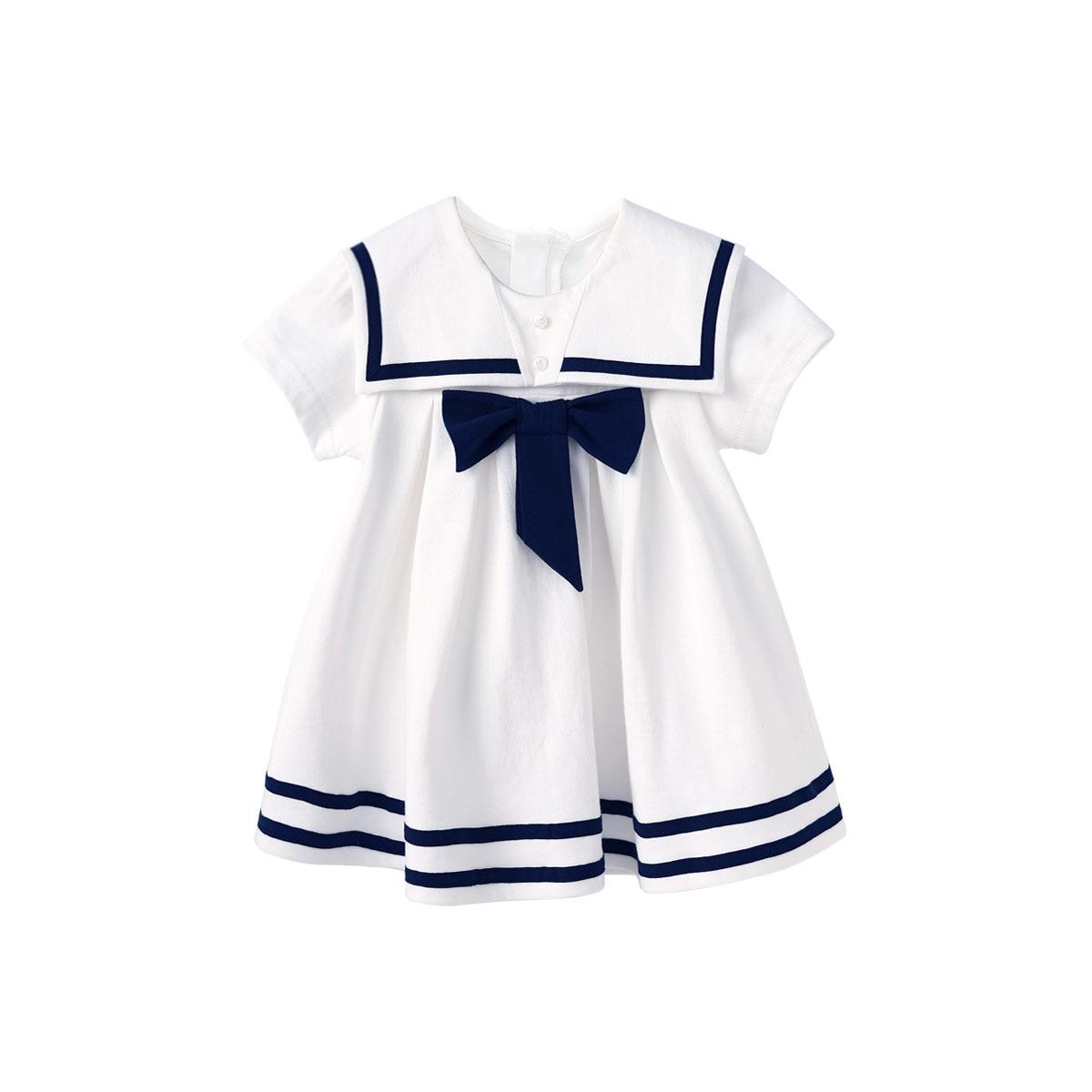 Pureborn Toddler Infant Baby Girl Sailor Dress Bowknot Sailor Collar Summer Breathable Cotton Beach Holiday Baby Girl Clothes