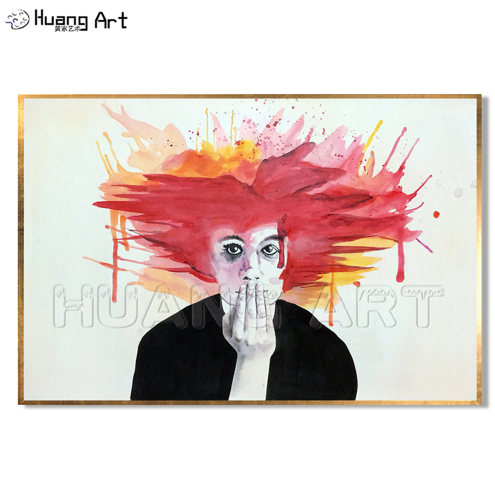 New Style Modern Abstract Figure Painting by 100% Hand Painted Wall Art Man with Red Hair in Black Oil Painting on Canvas