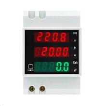 D52 2047 AC 80 300V 0 100A Din Rail LED Voltmeter Ammeter Active Power Factor Energy meter Voltage Volt Current Multi function