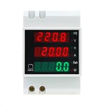 D52 2047 AC 80 300V 0 100A Su Guida Din LED Voltmetro Amperometro Tensione contatore di Energia Attiva del Fattore di Potenza Volt di Corrente multi funzione