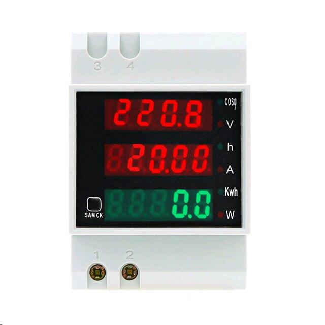 D52 2047 ac 80 300 v 0 100a din 레일 led 전압계 전류계 활성 역률 에너지 미터 전압 전압 전류 다기능