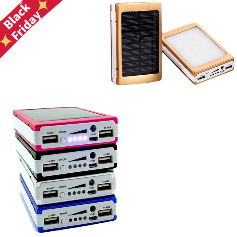 Portable DIY 5x18650 Powerbank Pover Power Bank 18650 Solar Power Bank Case Box Dual USB Kit Phone Charger Flashlight