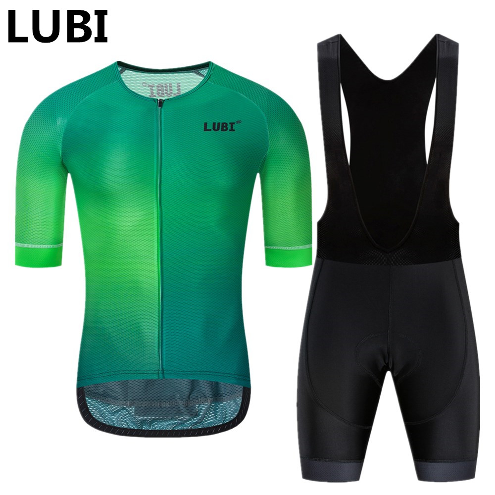 LUBI Pro Team Men Summer Cycling Jersey Bib Short Set Wear High Density Sponge Pad MTB Clothes Kits Bike Clothing Road Suit
