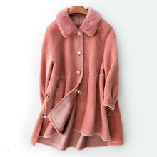 Mink Fur Collar Real Fur Coat Wool Jacket Autumn Winter Coat Women Clothes 2020 Korean Sheep Shearling Fur Women Tops YS868687(China)