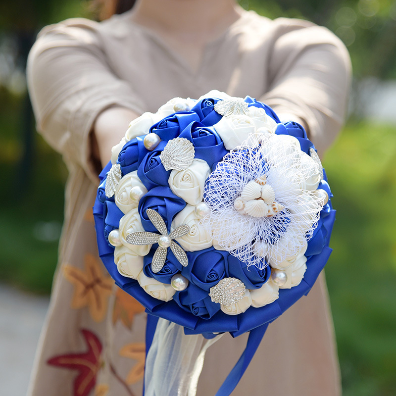 2019 New Ball Custom Colors Wedding Flowers Bridal Bouquets Artificial Pearls Crystal Wedding Bouquets Bouquet De Mariage Rose