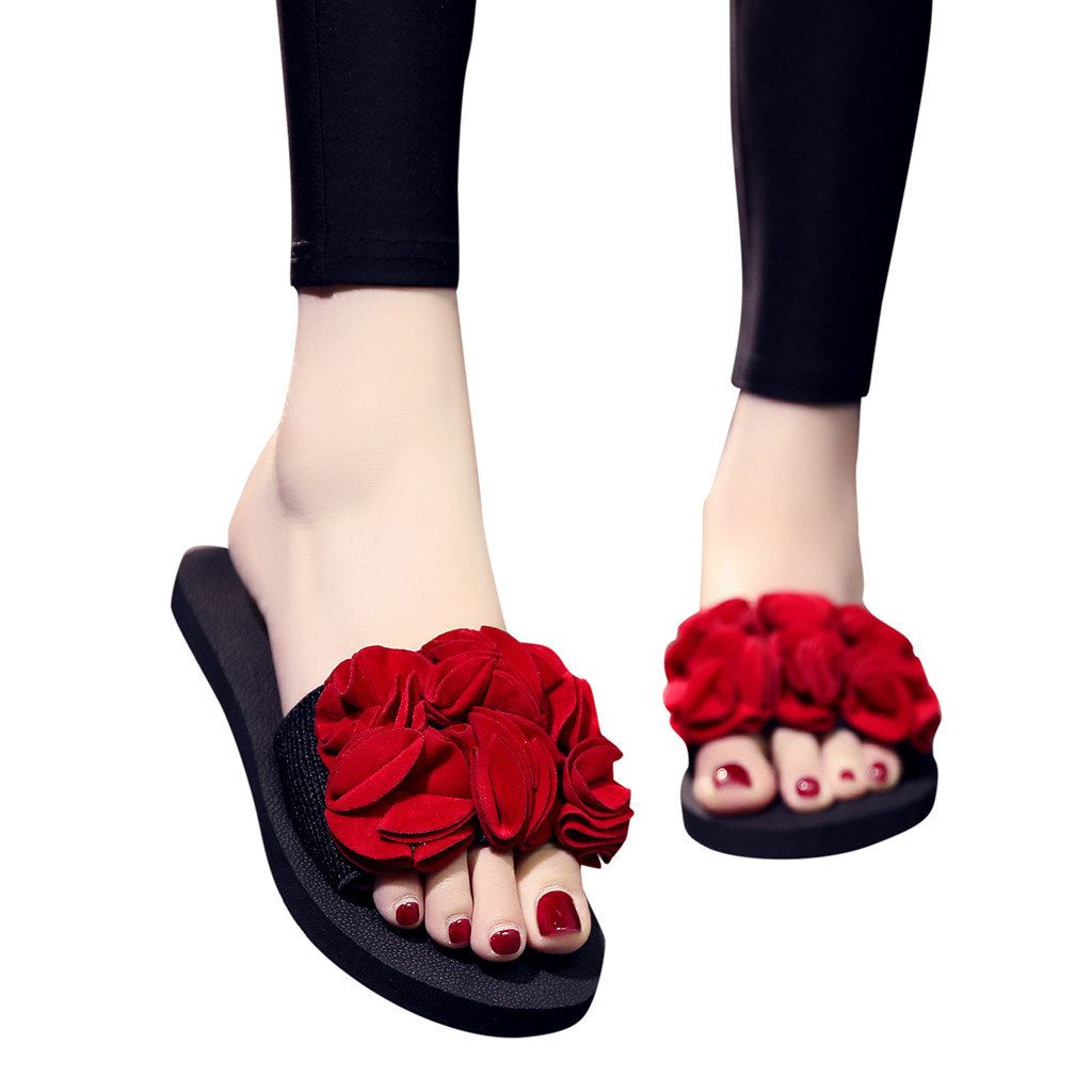 Mnycxen Women Slippers Summer Floral Platform Slides Slippers Women Casual Shoes Black Female Beach Slides Footwear New Z80