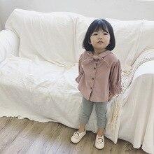 Kaiity2018, осенне-зимняя однотонная Вельветовая рубашка в Корейском стиле с бантом, топы с рукавами-фонариками для девочек