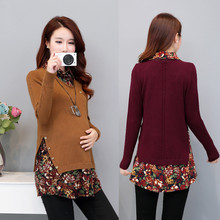 Tops Pregnancy-Clothes Maternity-Sweaters Autumn Pullovers for Clothing Shirts Patchwork