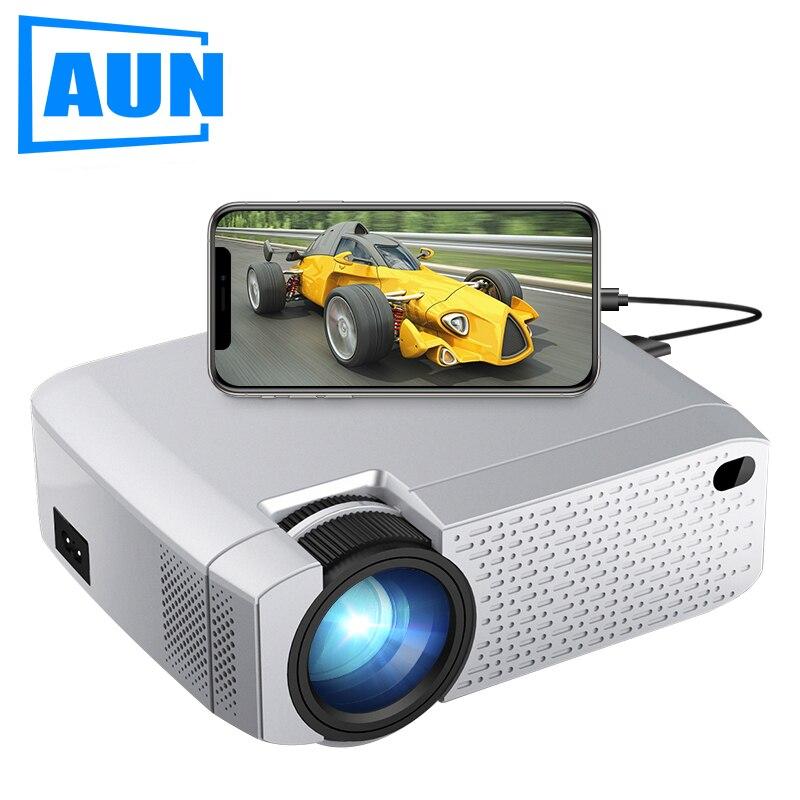 AUN mini projecteur LED D40W. 1600 Lumens, prise en charge HD, affichage de synchronisation sans fil pour téléphone portable. Projecteur WiFi pour Home Cinema