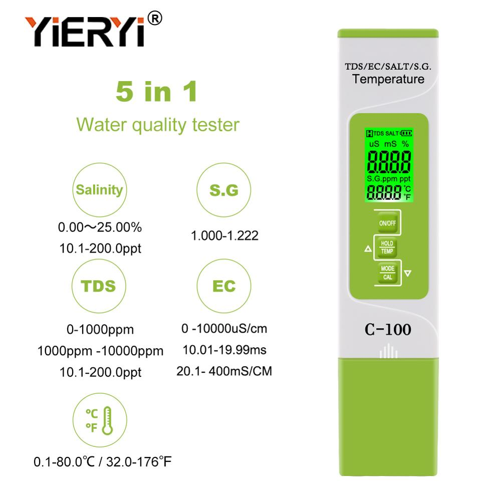 Yieryi 5 In 1 TDS/EC/SALT/S.G./Temperature Meter Digital Water Quality Monitor Tester For Pools, Drinking Water, Aquariums