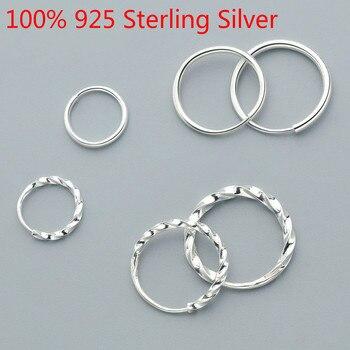 Minimalist S925 Sterling Silver Earrings Hoops Trendy Accessories Round Hoop Earrings For Women Girl Fashion Silver 925 Jewelry