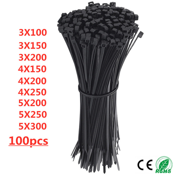 Self-Locking Plastic Nylon Wire Cable Zip Ties 100pcs Black Cable Ties Fasten Loop Cable Various specifications 100pcs 10cm nylon plastic zip trim wrap cable loop ties wire self locking black widely used cable ties