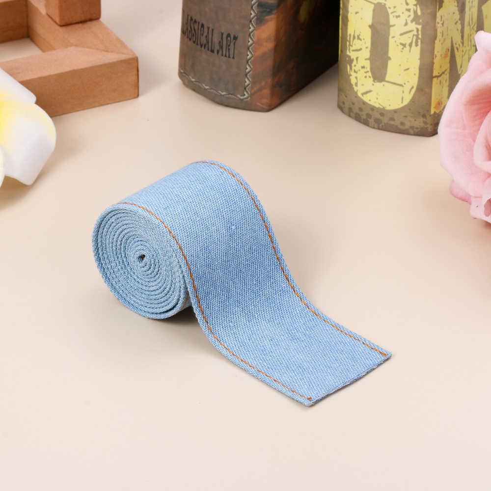 1 M/Roll dubbelzijdig Jumper Denim Lint Jeans Stof Tape 3 Kleur Boog Cap Haarspeld Kleding Decoraties naaien DIY Accessoires