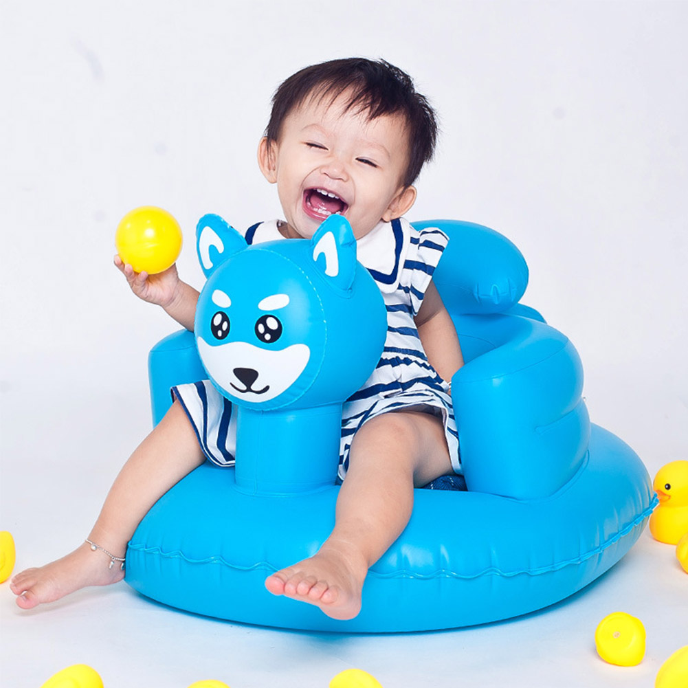 Baby Inflatable Sofa Infant Small Cartoon Animal Seat Soft Bathing Seat Foldable Baby Dining Chair Shower Stool Inflatable Toy
