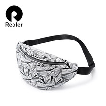 REALER waist bag women geometric fanny pack female chest belt bag for phone purses card holders(China)