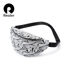 REALER waist bag women geometric fanny pack female chest bel
