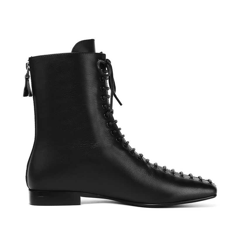 2019 neue Mode Frauen Ankle-Hohe Mädchen Frauen stiefel Runde Kopf Weibliche Stiefel Frenulum Platz Heels Stiefel Zurück zipper frauen Stiefel