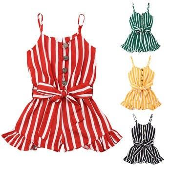 Lato 3-8 lat maluch dziecko dziewczynka ubrania bez rękawów Stripe Romper kombinezon strój na lato Playsuit