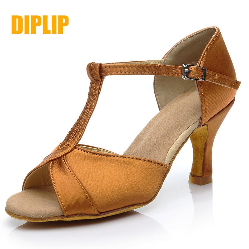 DIPLIP new Latin dance shoes woman Soft bottom Ballroom dance  shoes girl Salsa Fish mouth glitter High heel
