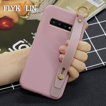 FLYKYLIN Candy Color Case For Samsung Galaxy S10 Plus S10e S9 S8 Back Cover on Note 8 9 10 Soft Silicone Wrist Strap Phone Coque