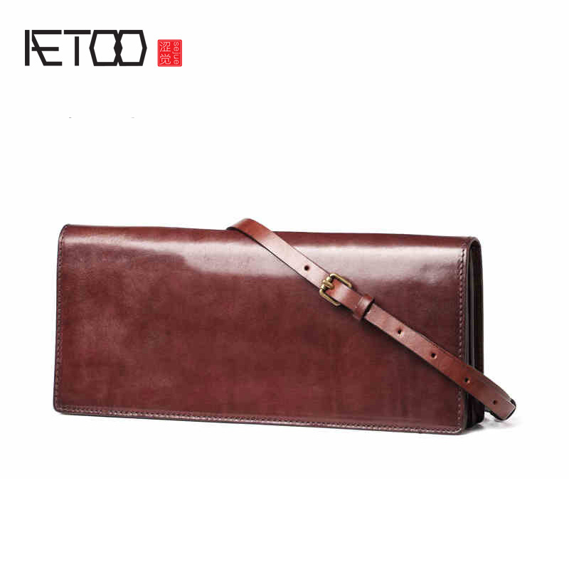 AETOO Vintage envelope bags, leather shoulder bags, stylish stilettos