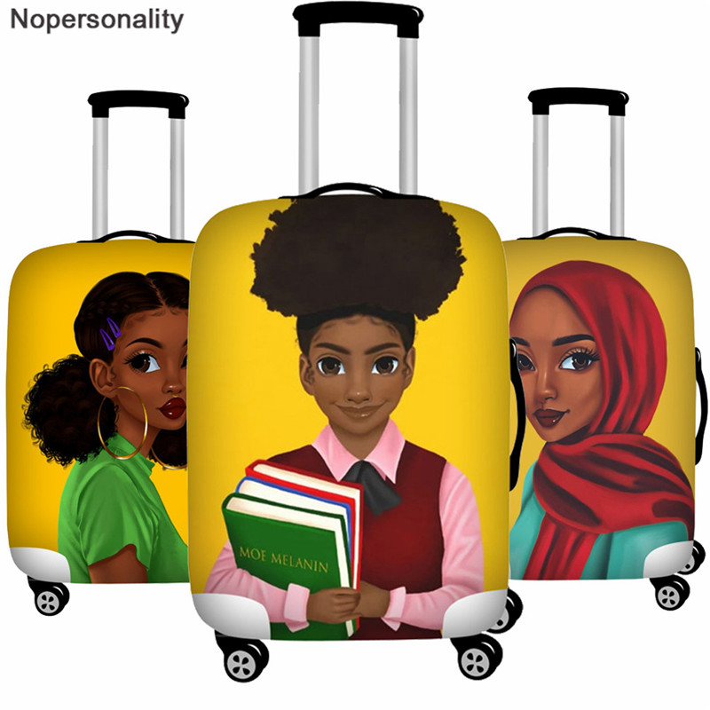 Nopersonality Art Afro Girl Luggage Cover African Women Travel Accessories Elastic Trolley Case Suitcase Cover For 18-32 Inch