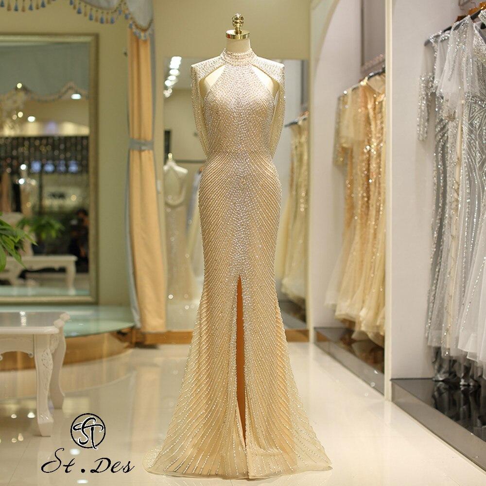 NEW 2020 St.Des Mermaid Halter Sleeveless Russian Champagne Beading Designer Elegant Floor Length Evening Dress Party Dress