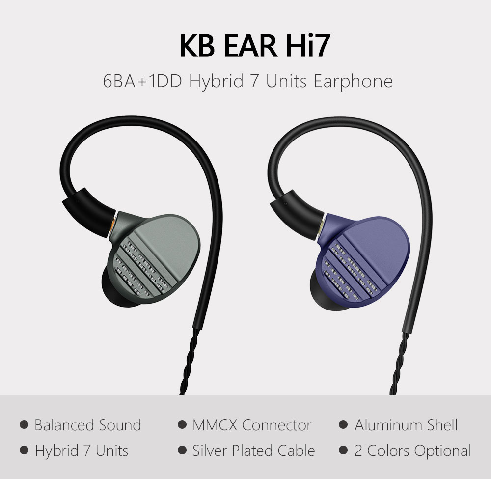 Kb orelha hi7 fone de ouvido dj no monitor 6ba + 1dd híbrido fone com conector mmcx alta fidelidade earplug
