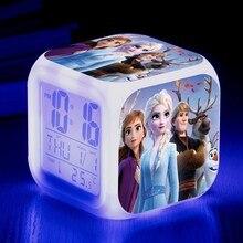 3 # disney princesa congelado estudante despertador mudando quadrado congelado segunda temporada alarme criativo pequeno alarme presente para crianças