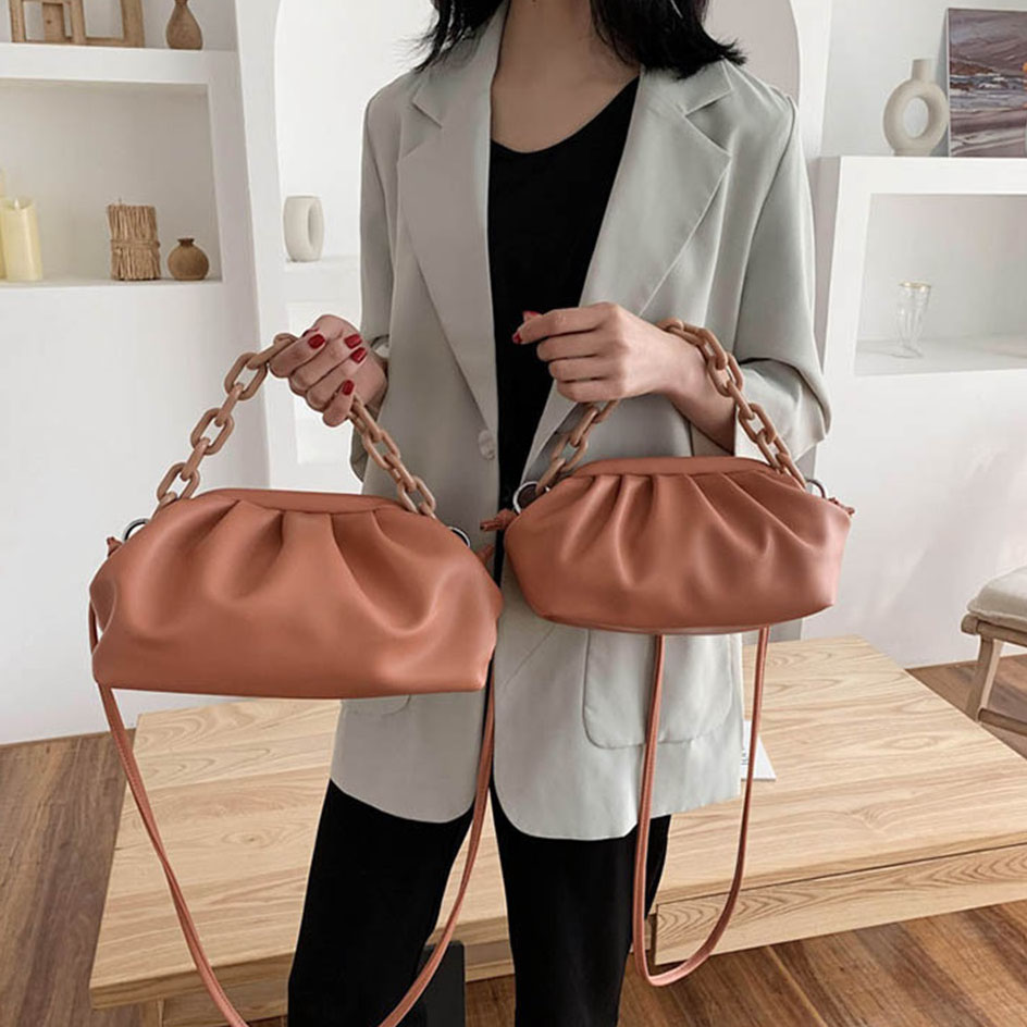 Fashion Pleat Cloud Crossbody Bags For Women Spring Summer Retro Chain Shoulder Messenger Bag Female Clutch Purses And Handbags