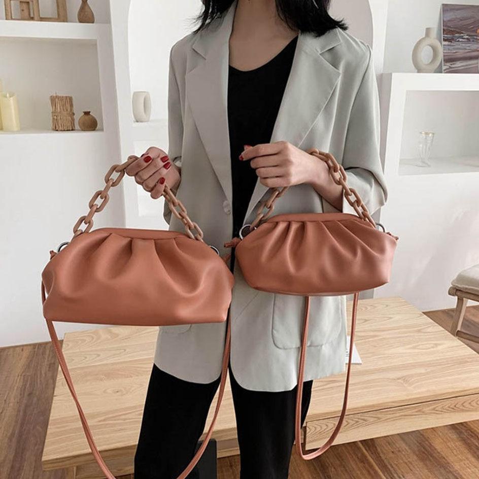 Fashion Pleat Cloud Crossbody Bags For Women Spring Summer Retro Chain Shoulder Messenger Bag Female Clutch Purses And Handbags
