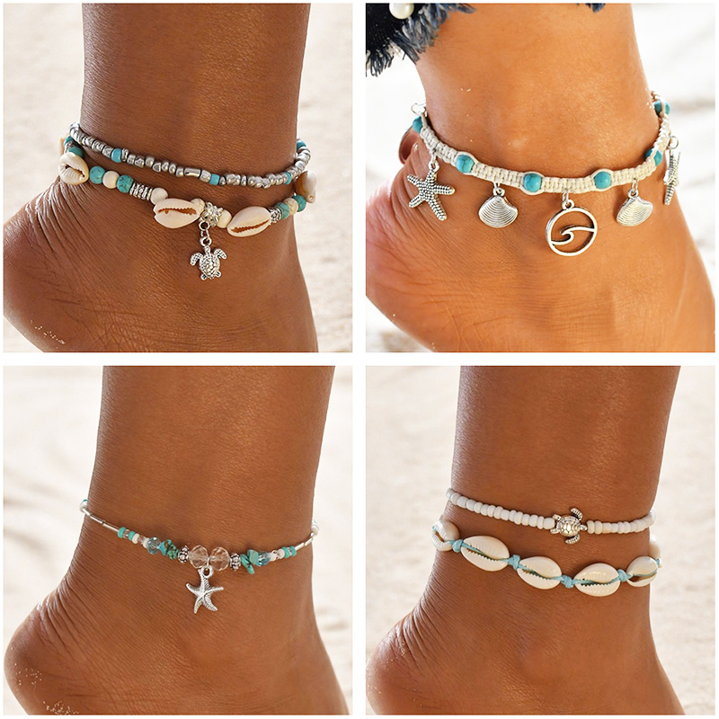 Turtle Shell Starfish Pendant Anklets Women Stone Beads Shell Anklet Bohemian Bracelets On Leg Beach Ocean Jewelry Drop Shipping