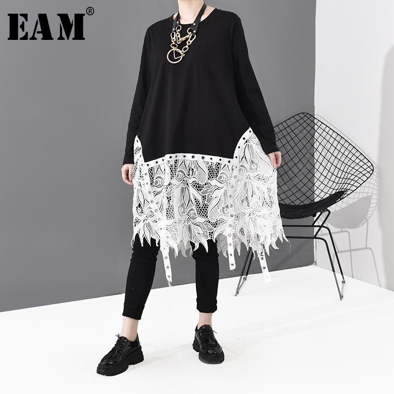 [EAM] Women Hem Lace Split Joint Ribbon Big Size Dress New Round Neck Long Sleeve Loose Fit Fashion Spring Autumn 2020 1S705