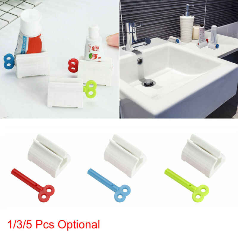 Plastic Toothpaste Tube Squeezer Easy Dispenser Rolling Holder Bathroom Storage