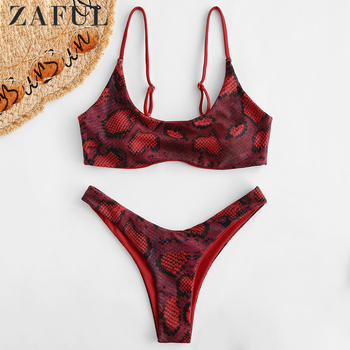 цена на ZAFUL Snakeskin Print Bikini Set Sexy Look Spaghetti Straps Top And High Leg Bottoms Women Padded Bikini