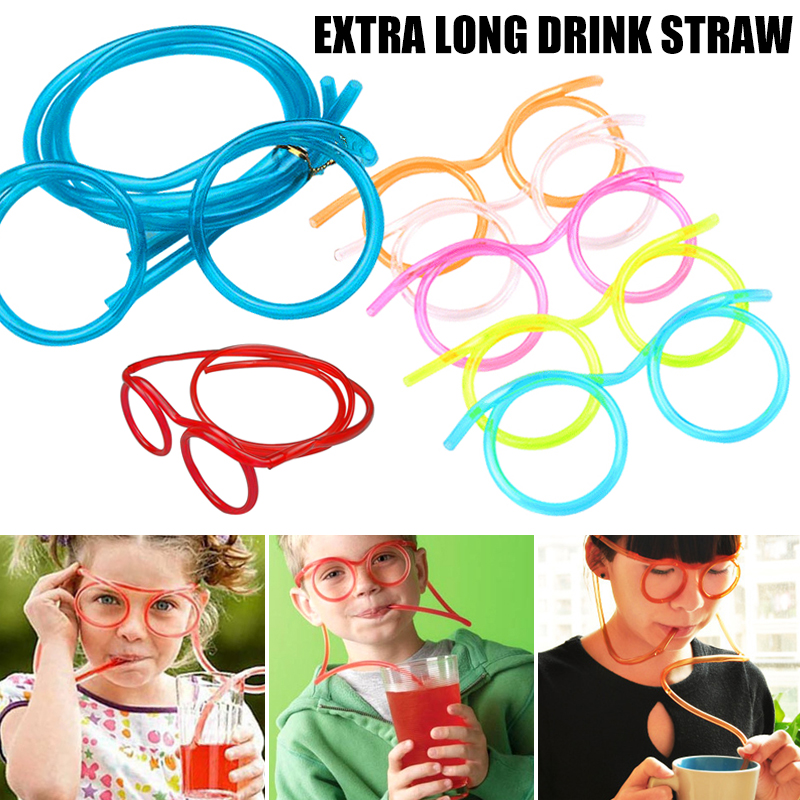 Soft Novelty Juice Kids Straw Glasses Long Tube Fun Drinking Straw for Children Cartoon funny glasses with straws Children gifts
