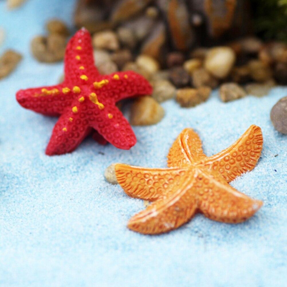 Micro Landscapes DIY Resin Craft Starfish Miniatures Fairy Garden Decoration Bonsai Figurine Terrarium Ornament Accessory 2Pcs