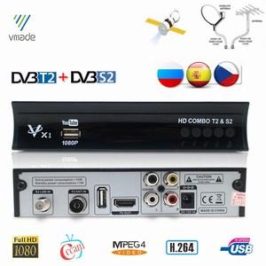 Vmade DVB-T2 DVB-S2 2 in 1 Combo HD Digital Terrestrial Satellite Receiver MPEG-2/4 Support AC3 Cccam Bisskey IPTV TV Box(China)