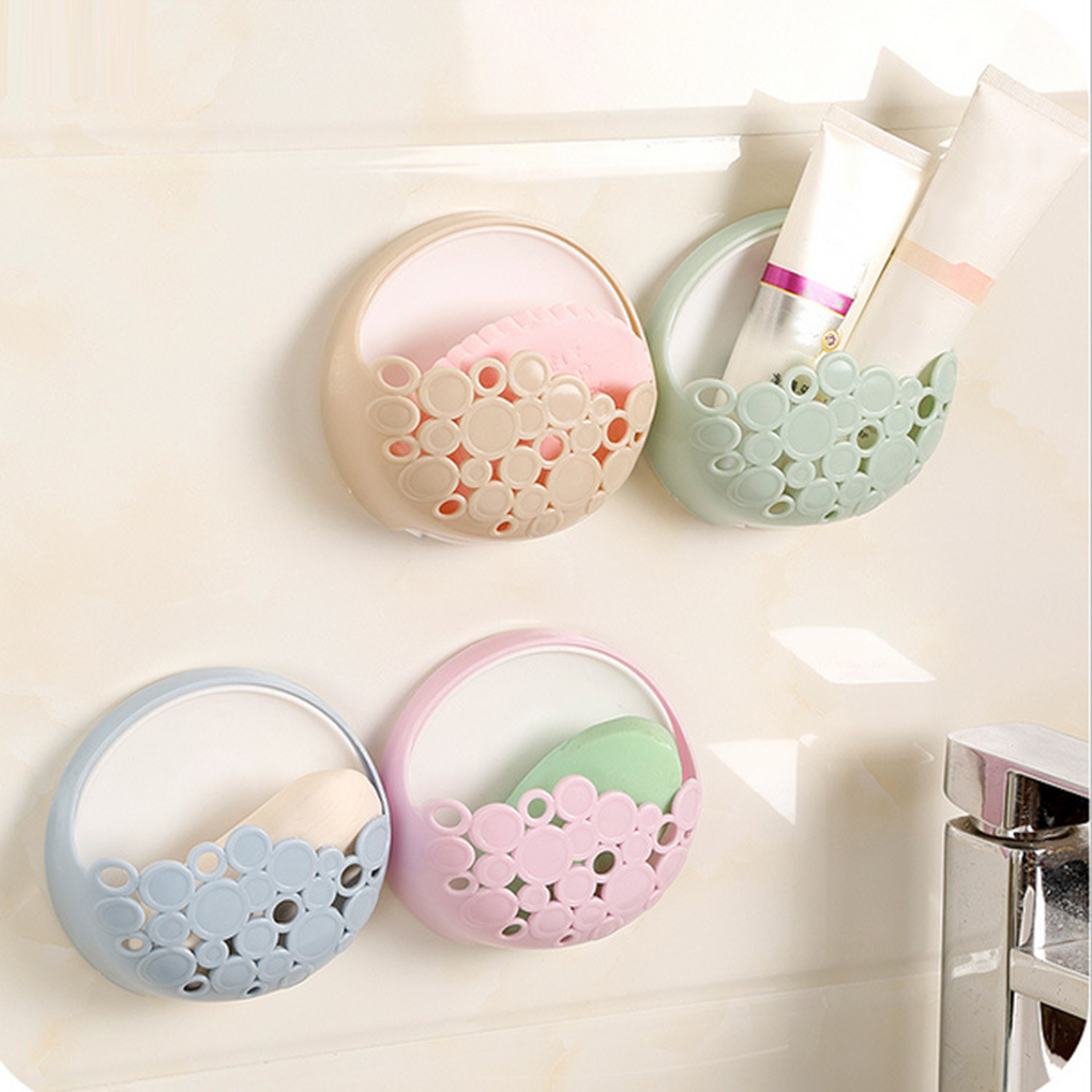 Powerful Suction Cup Soap Dish Holder Wall Mounted Bathroom Shower Soap Saver Box Storage Hollow Organizer Rack