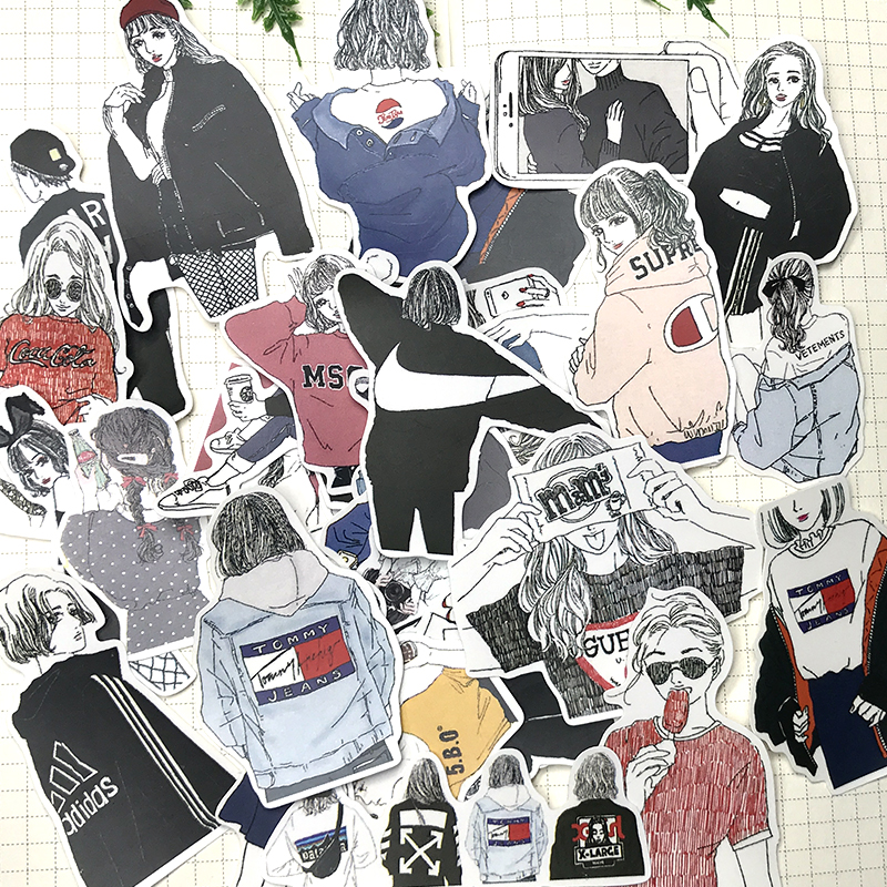 32PCS INS Wind Girl Character Stickers Fashion Wear Lady Sisters Hand Account Material Handbook Sticker Album DIY